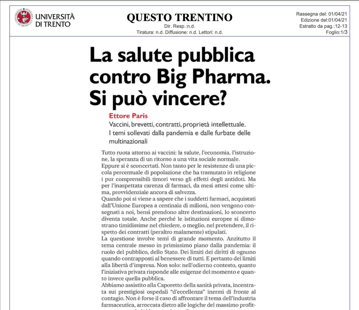E. Paris (intervista a Roberto Caso), La salute pubblica contro Big Pharma. Si può vincere?, QT (Questo Trentino), 1° aprile 2021